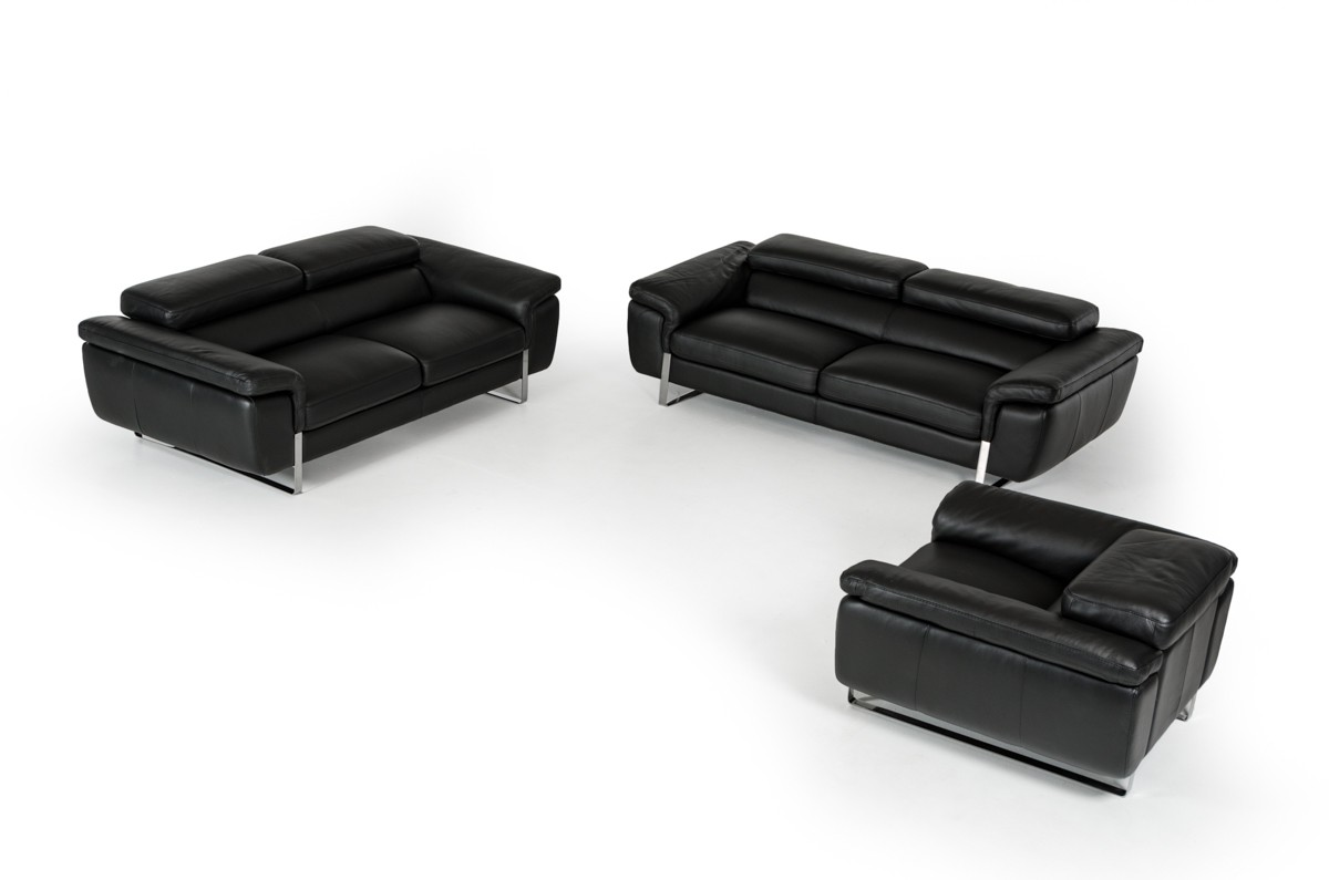 David Ferrari Highline Italian Modern Black Leather Sofa Set   David  Ferrari Italian Sofas   Collections