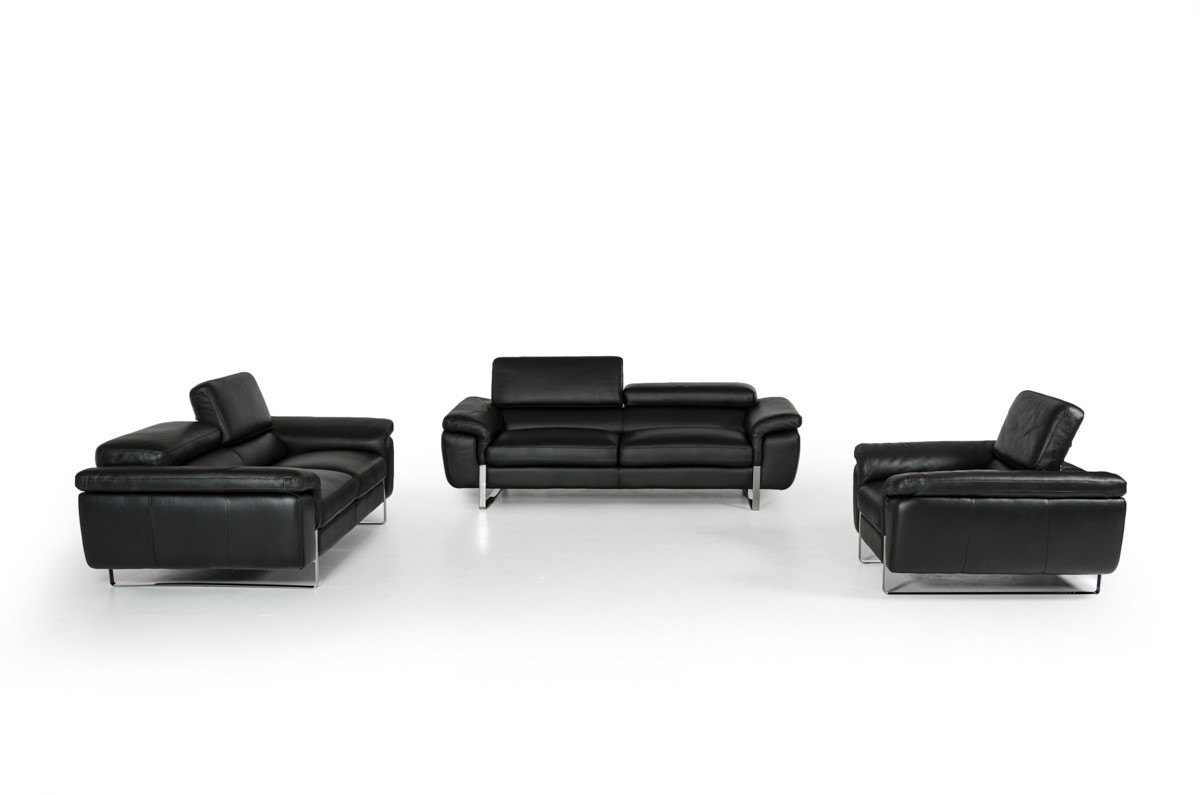 Modern black sofas - David Ferrari Highline Italian Modern Black Leather Sofa Set David Ferrari Italian Sofas Collections
