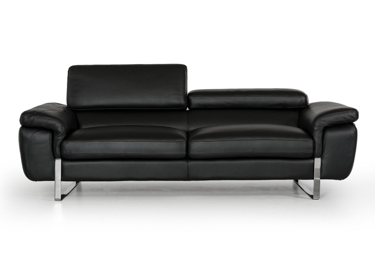 David Ferrari Highline Italian Modern Black Leather Sofa Set Sofas Living Room