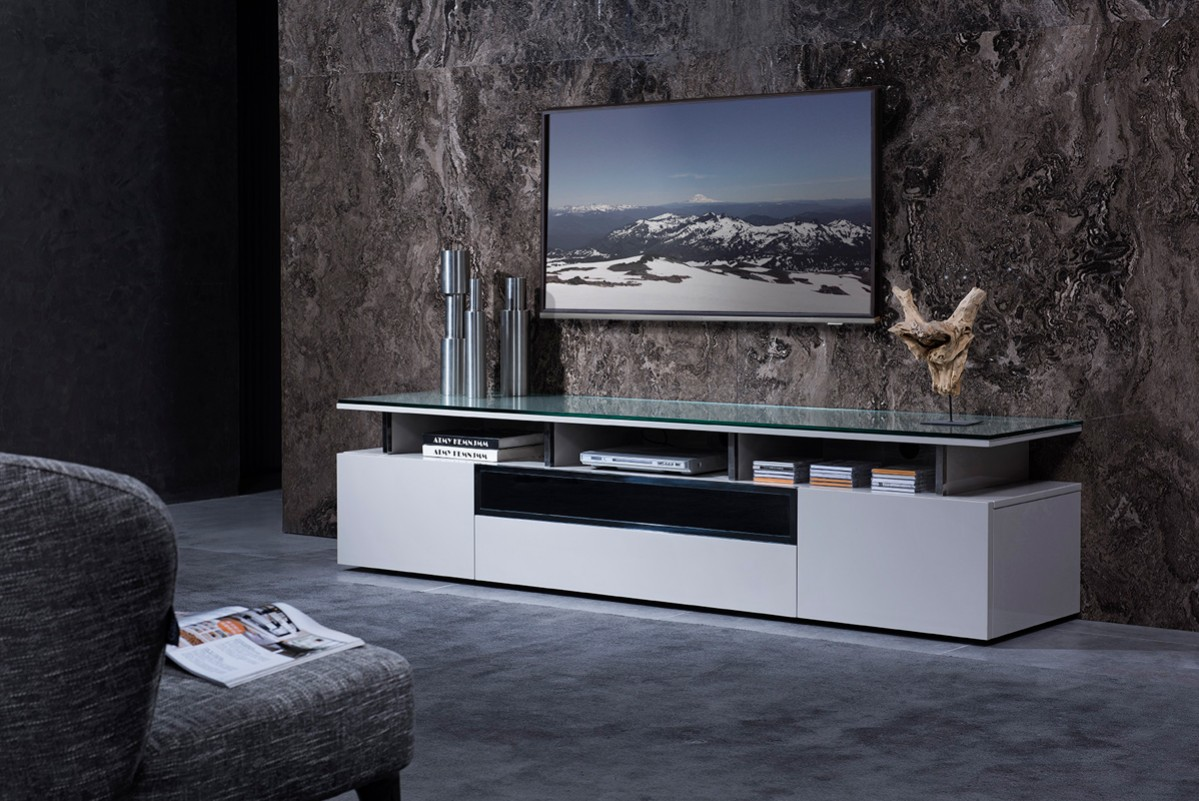 Modrest hurst contemporary grey gloss tv stand - Dresser as tv stand in living room ...