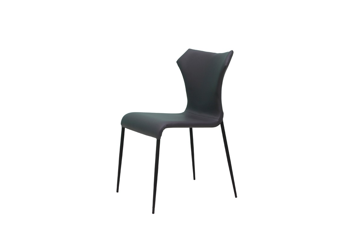 Marsha modern grey black dining chair set of 2 for Grey and black dining chairs