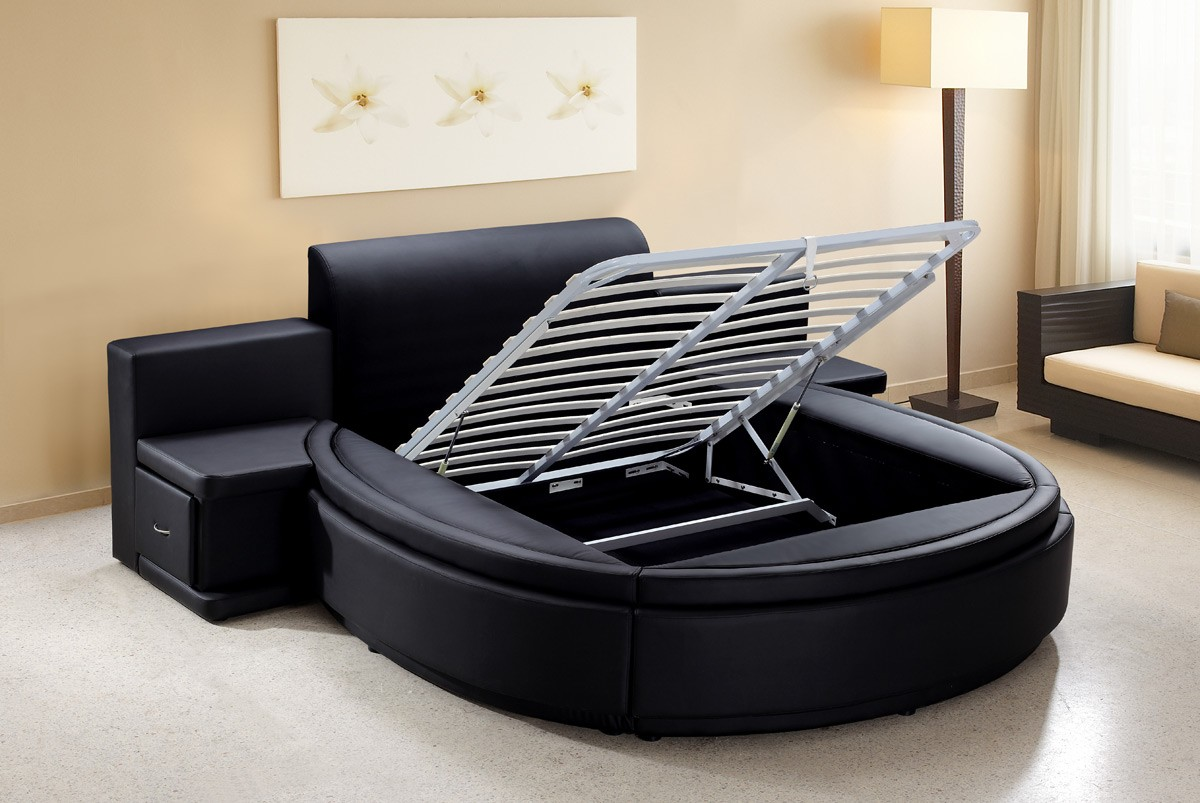Modrest Owen Black Leatherette Round Bed With Storage