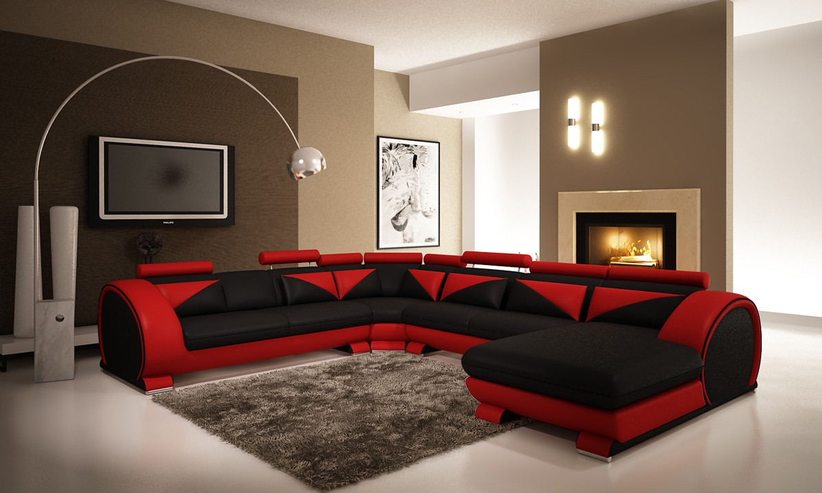 Divani Casa 7395 Modern Red And Black Bonded Leather Sectional Sofa With Headrests
