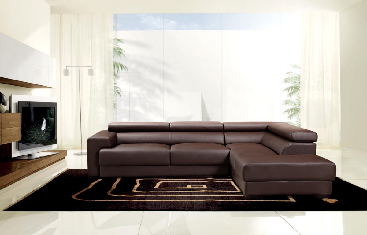 Modern Brown Leather Sectional | Zef Jam