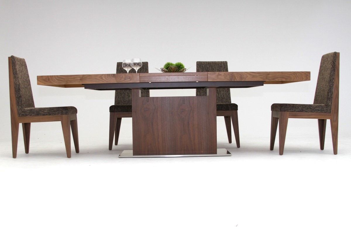 Modrest zenith modern walnut extendable dining table for M and s dining