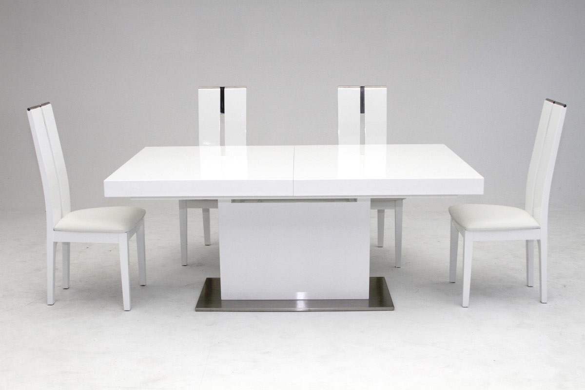 Modrest zenith modern white extendable dining table modern dining dining - White extending dining tables ...