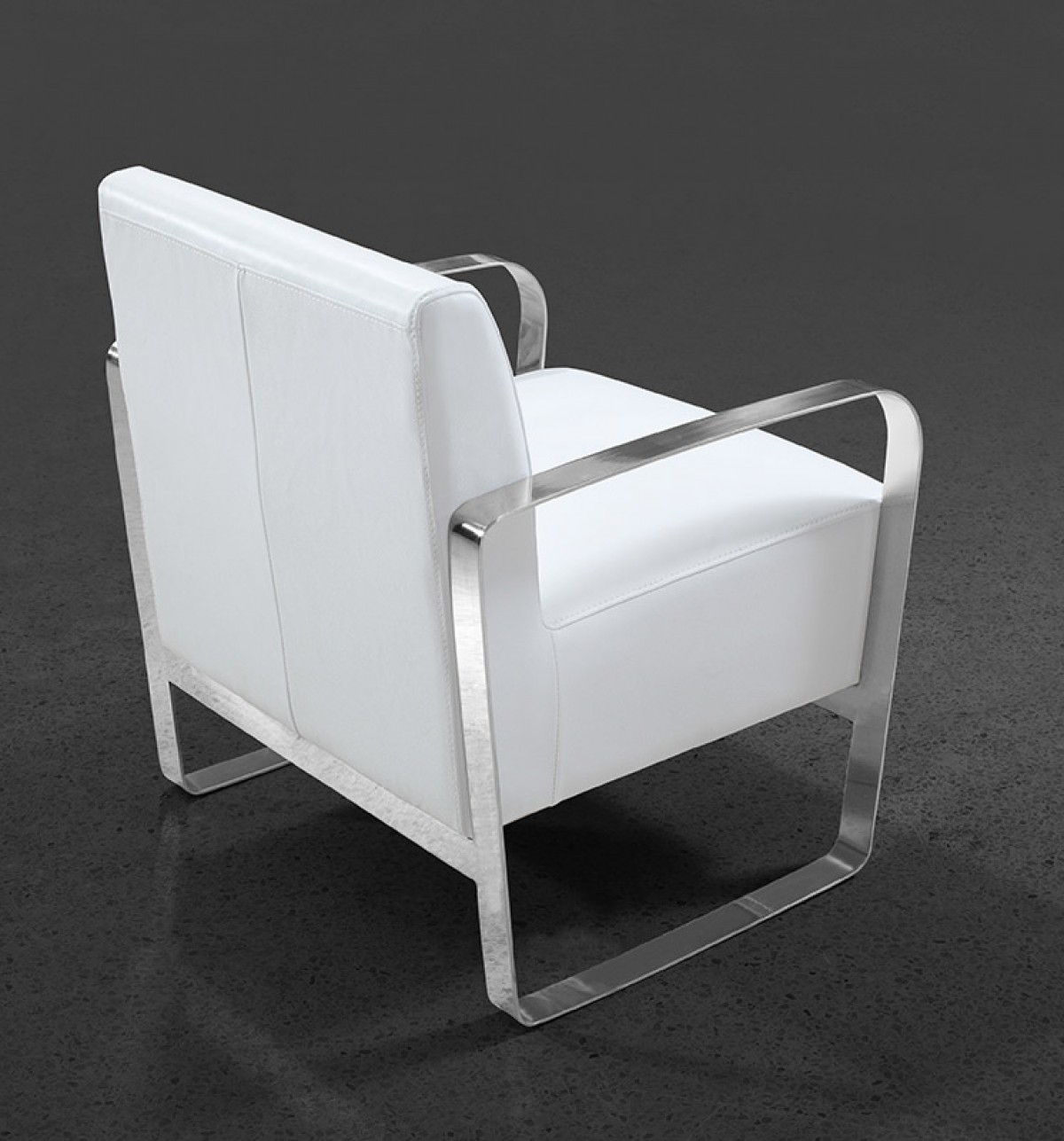 Divani Casa Brizo Modern White Leather Lounge Chair Lounge - White leather lounge chair