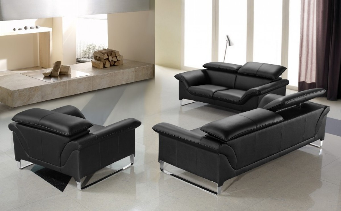 Divani casa elite modern leather sofa set for B m living room furniture