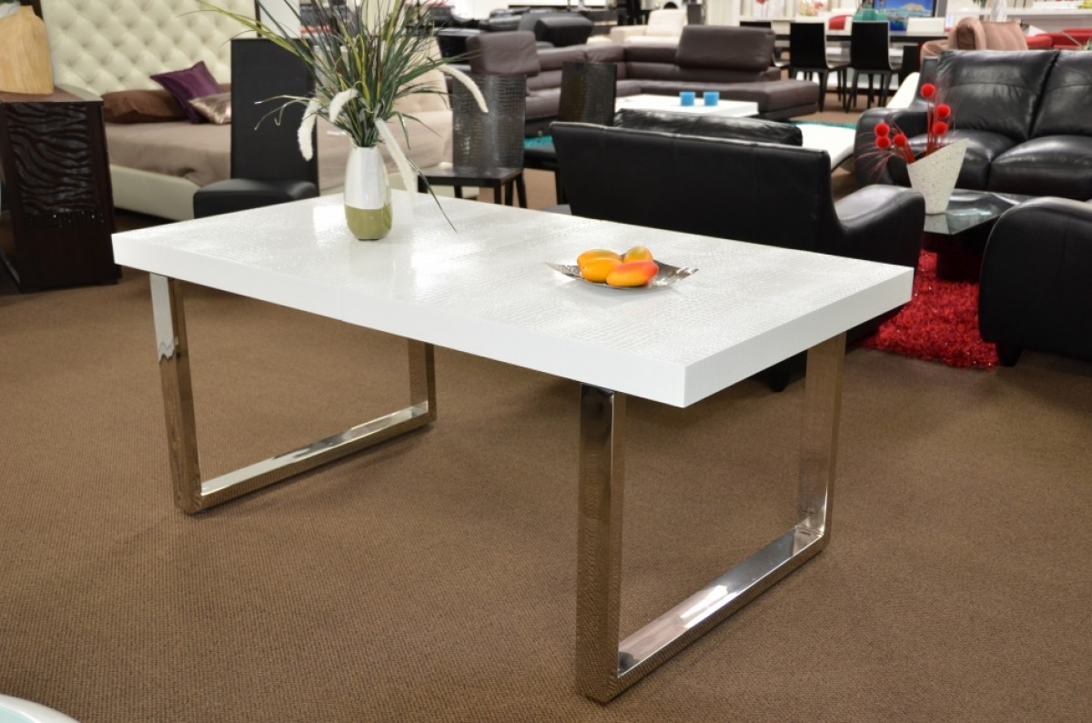 A Amp X Skyline White Gloss Extendable Dining Table Modern