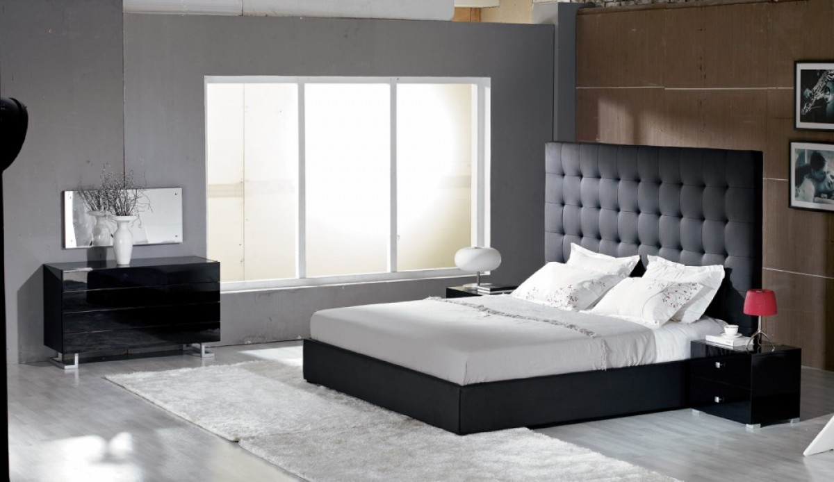 modrest lyrica black leatherette tall headboard bed 17676 | image 532 1 2