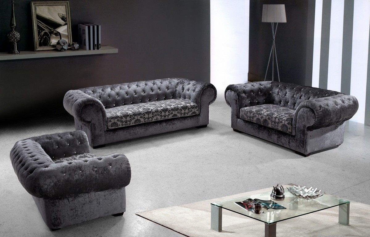 Divani Casa Metropolitan   Modern Fabric Sofa Set With Tufted Acrylic  Crystals ...