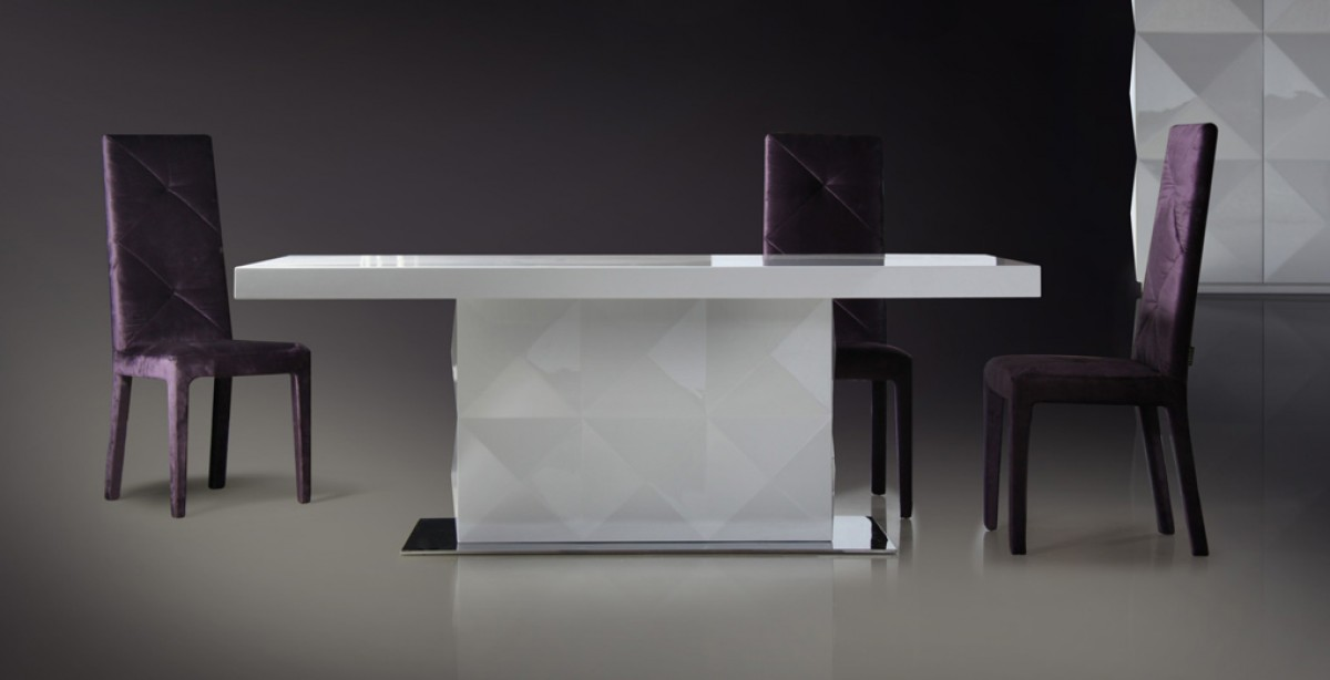 Versus Eva White Lacquer Modern Dining Table Modern