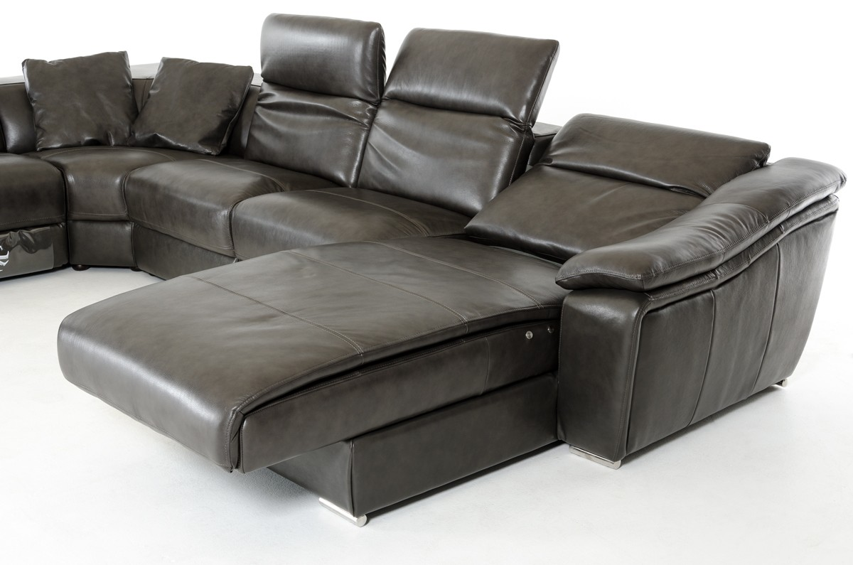 Divani Casa Jasper Modern Dark Grey Leather Sectional Sofa - Dark grey leather sectional sofa