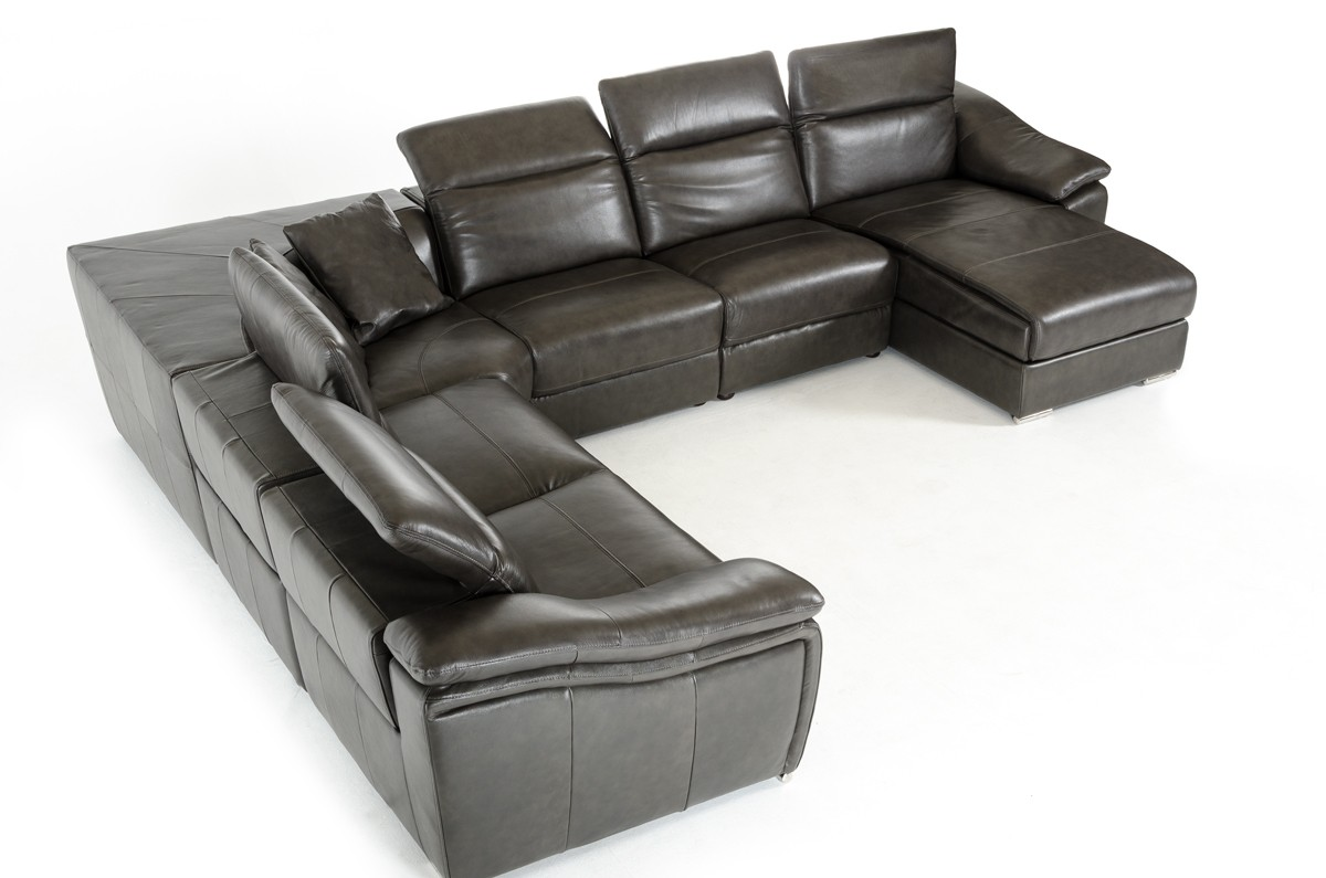 Grey Leather Sectional Sofa With Chaise