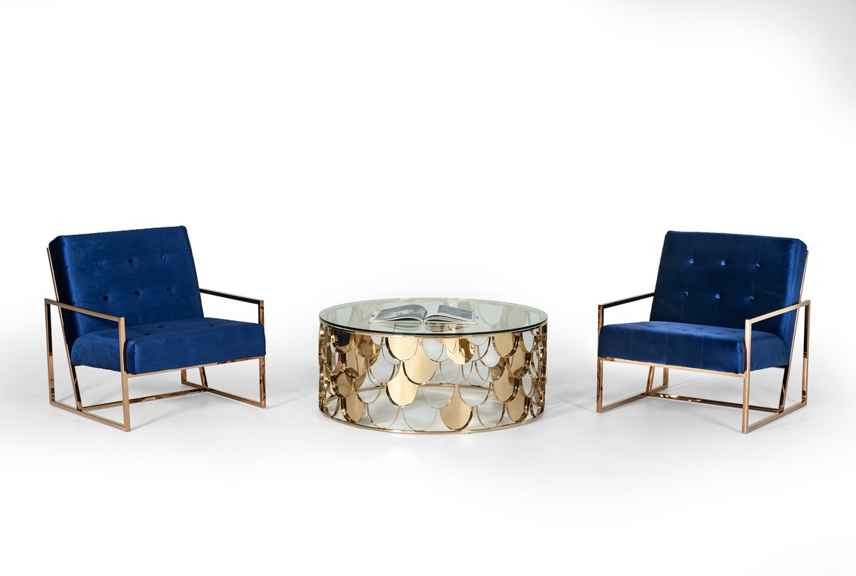 Modrest Javier Modern Glass Gold Round Coffee Table Coffee Tables Living Room
