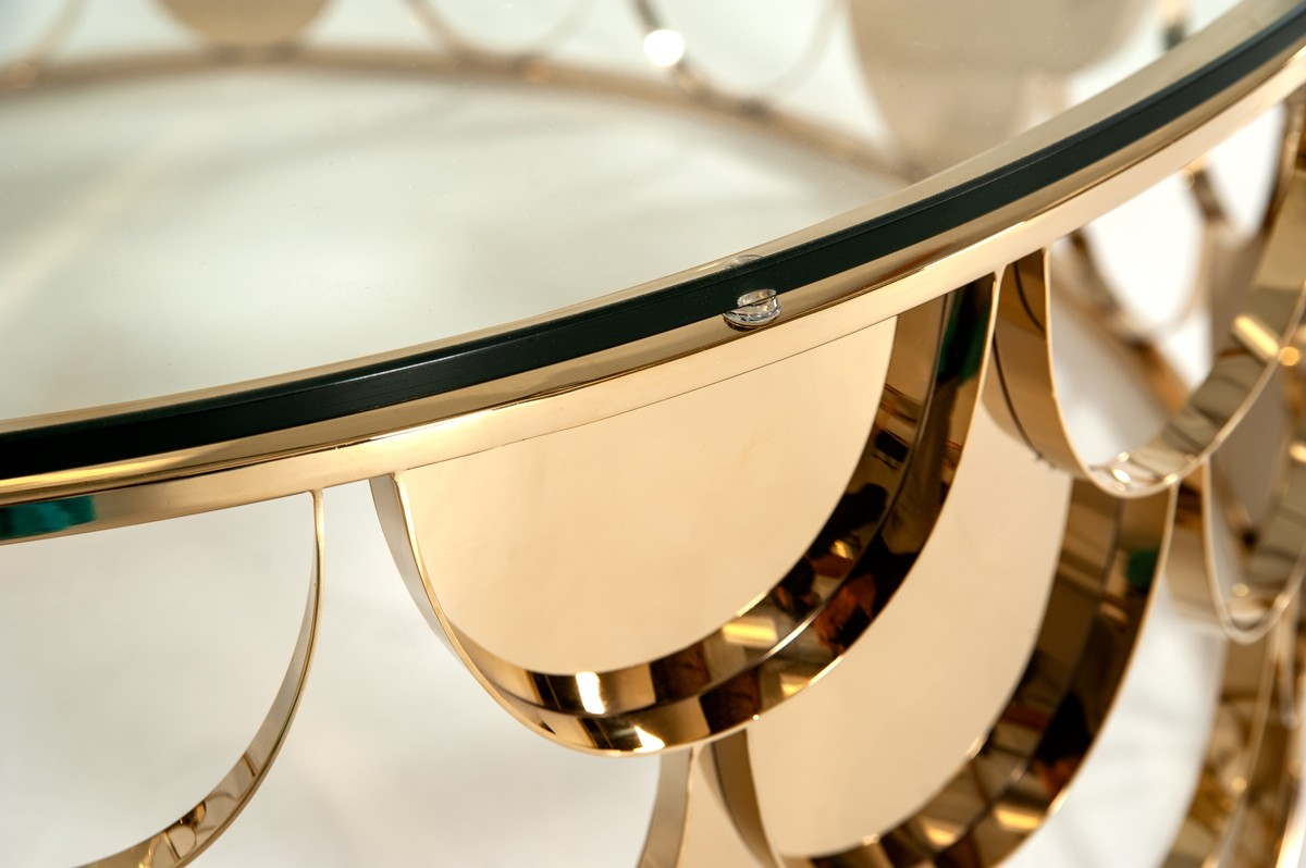 Modrest Javier Modern Glass Amp Gold Round Coffee Table