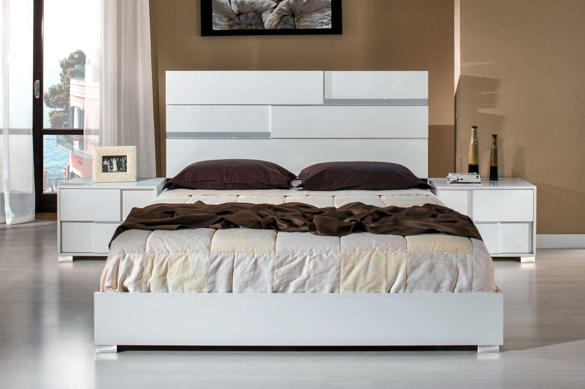 Modrest Ancona Italian Modern White Bedroom Set Modrest Made In Italy Collections