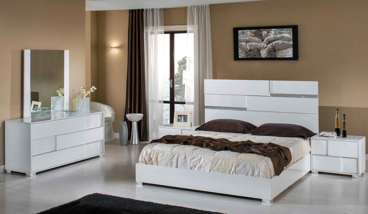 Modrest Ancona Italian Modern White Bedroom Set
