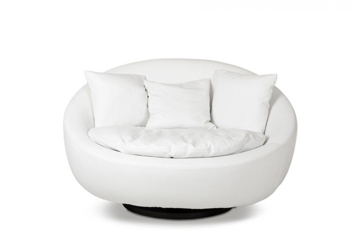 Divani Casa Alba Modern Leatherette Swivel Round Lounge Chair