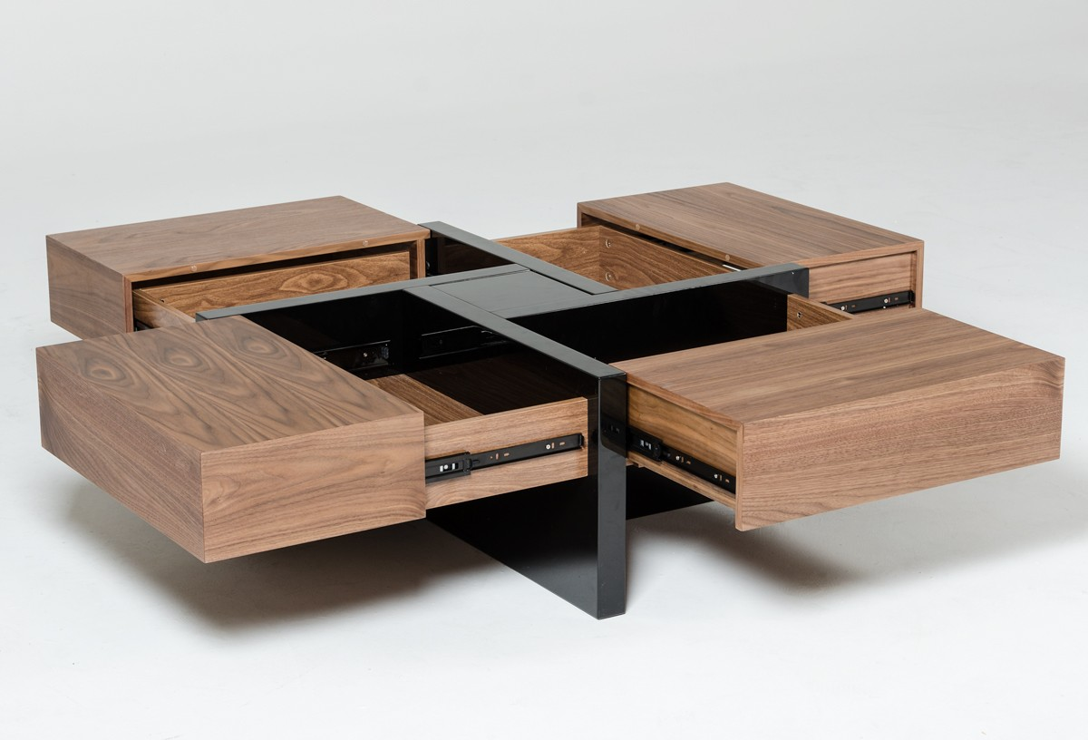 Modrest Makai Modern Walnut Amp Black Square Coffee Table