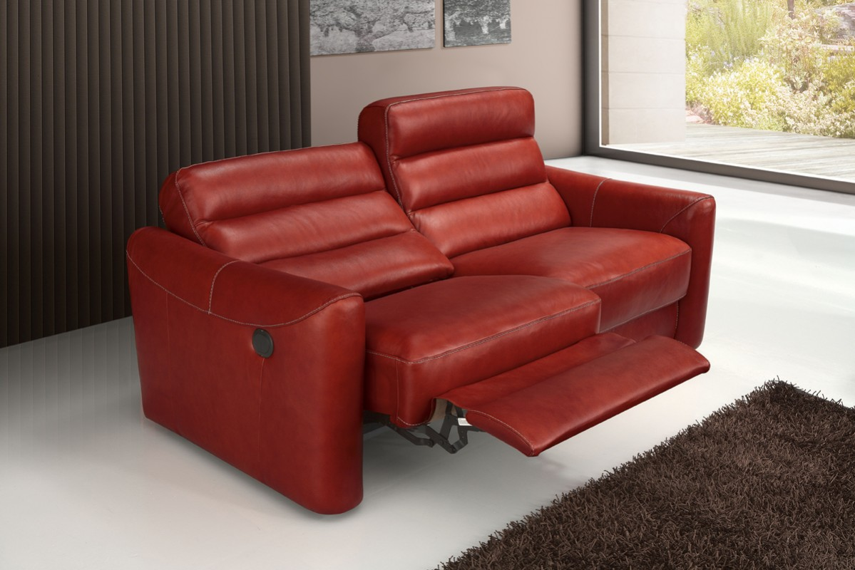 Estro Salotti Levante Modern Red Leather Sofa Set Reclining Sofas Recliners Living Room