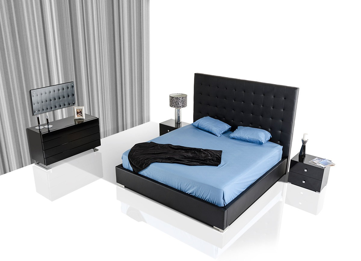 lyrica tall dsc bed leatherette black modrest headboard