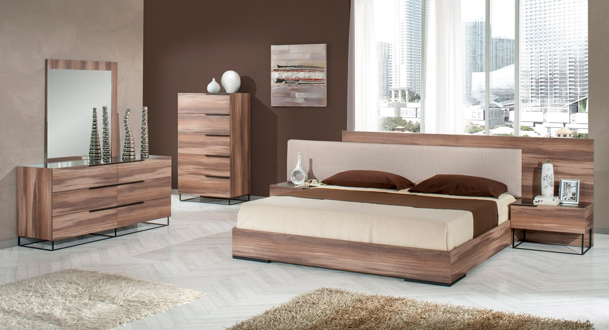 Nova Domus Matteo Italian Modern Walnut Amp Fabric Bedroom Set
