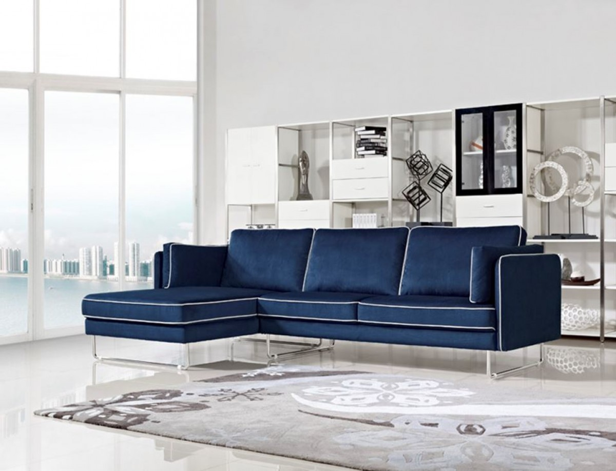 divani casa anchusa modern blue fabric sectional sofa. Black Bedroom Furniture Sets. Home Design Ideas