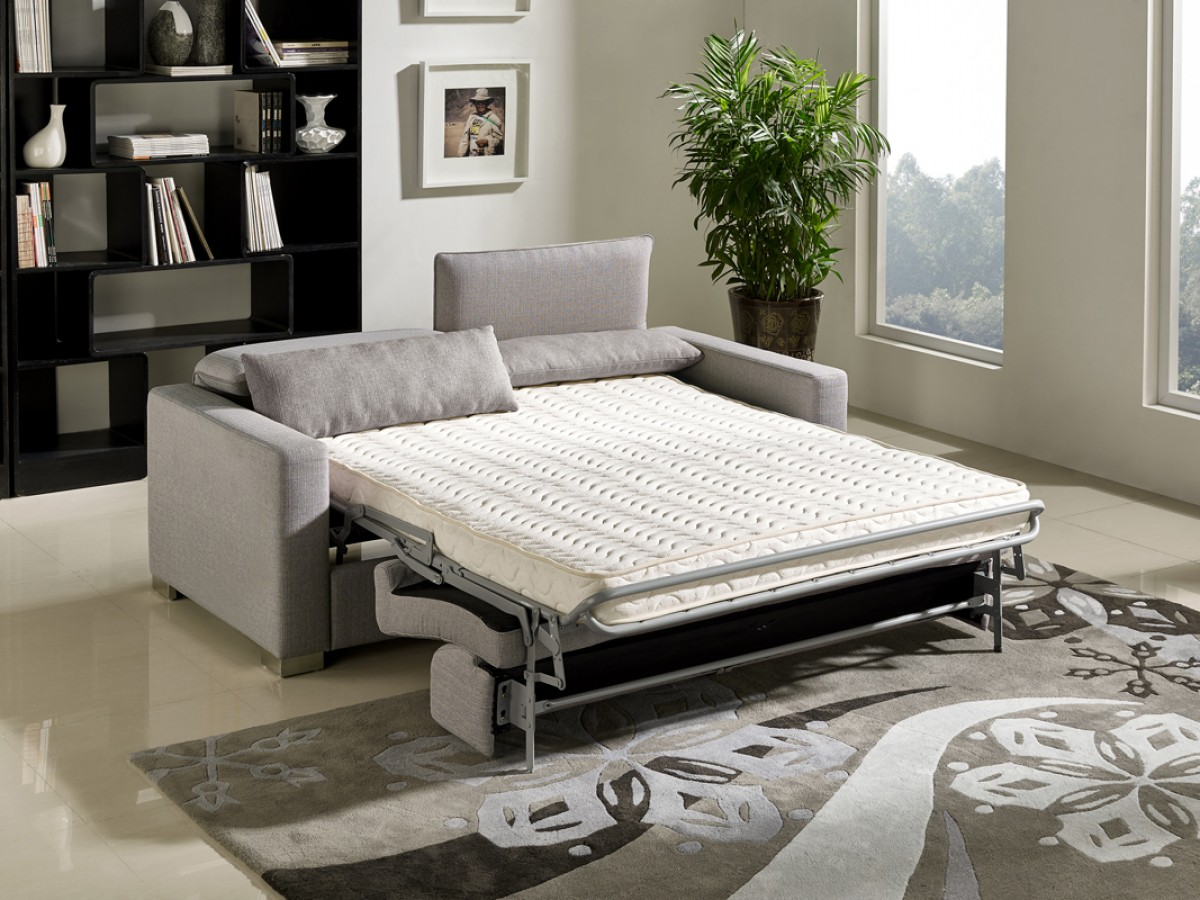 Rooms To Go Mattress >> Divani Casa Norfolk Modern Grey Fabric Sofa Bed - Sofa Beds - Living Room