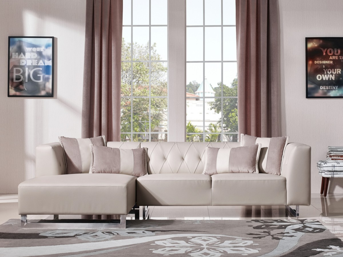 Divani Casa Carolina Modern Leatherette Amp Fabric Sectional