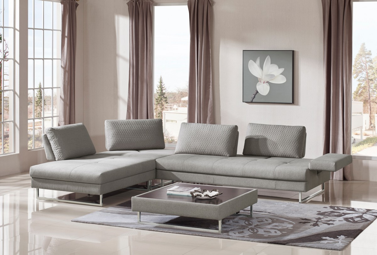 Divani Casa Baxter Modern Grey Fabric Sectional Sofa & Coffee Table ...