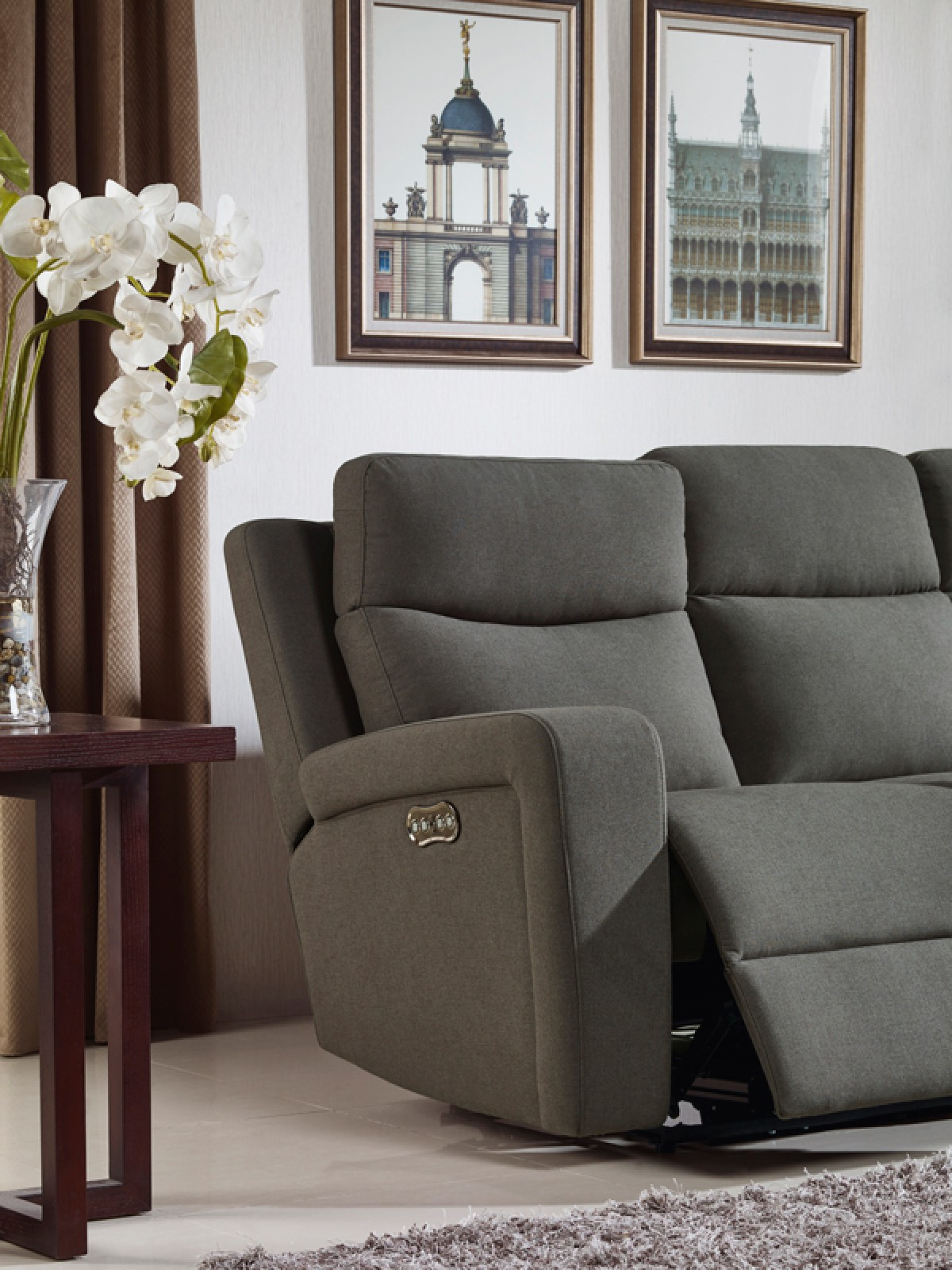 Divani Casa Shaw Modern Grey Fabric Sofa Set W Recliners