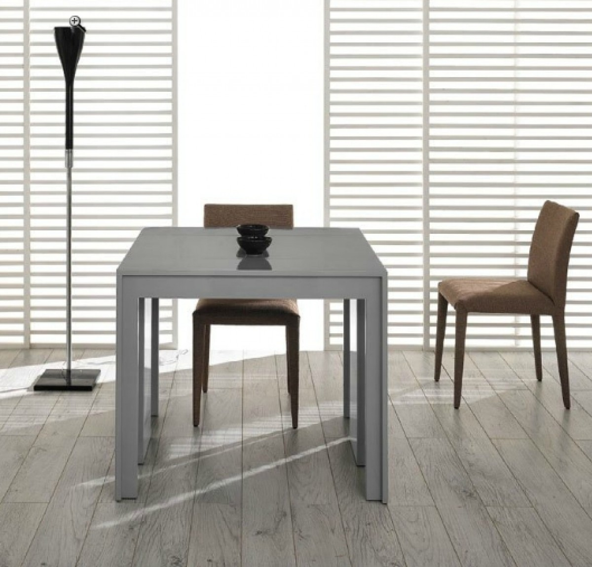 Modrest Morph Modern Ultra Compact Extendable Grey Gloss  : morph grey extendable dining table open2 from www.vigfurniture.com size 1200 x 1150 jpeg 226kB