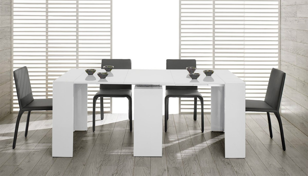 modrest morph modern ultra compact extendable white dining table. Black Bedroom Furniture Sets. Home Design Ideas