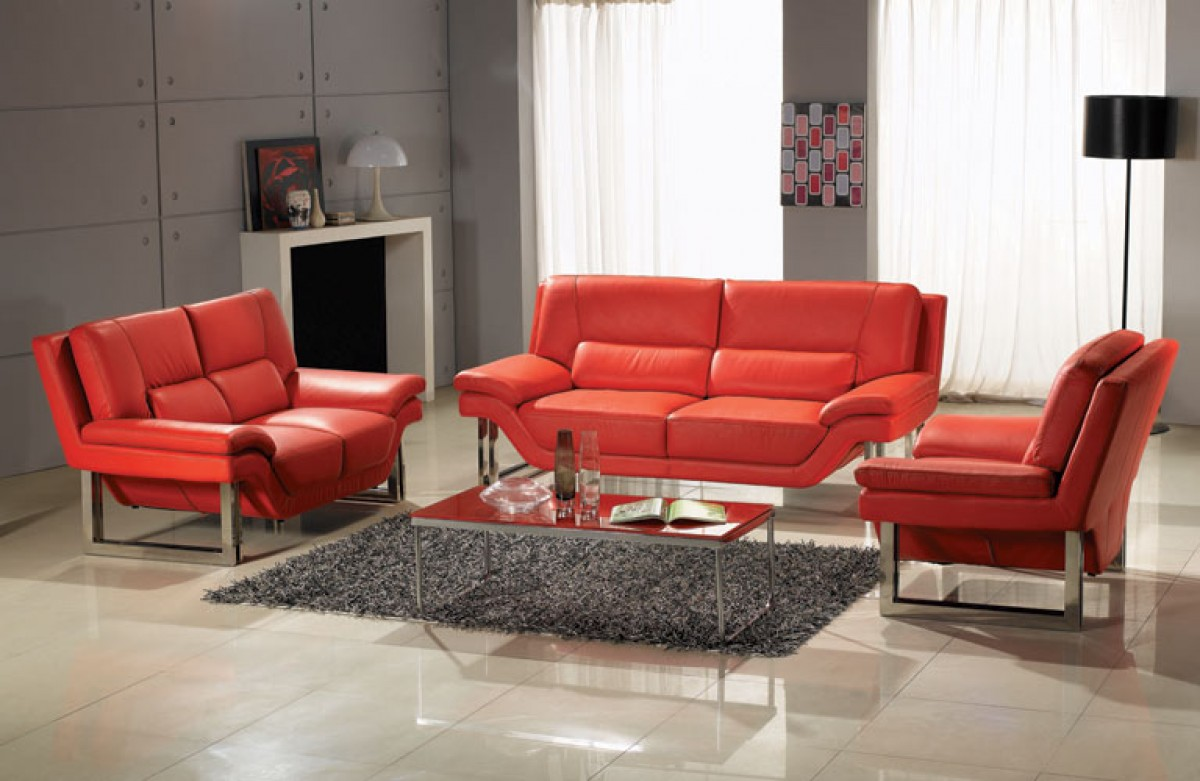 new york modern red sofa set. Black Bedroom Furniture Sets. Home Design Ideas