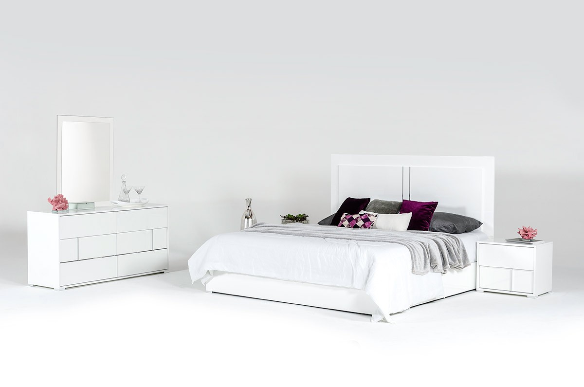 Modrest Nicla Italian Modern White Bedroom Set   Nicla White Bedroom  Collection   Modrest Made In Italy   Collections