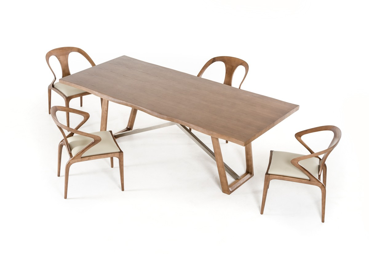Modrest olson modern walnut dining table for Contemporary walnut dining chairs