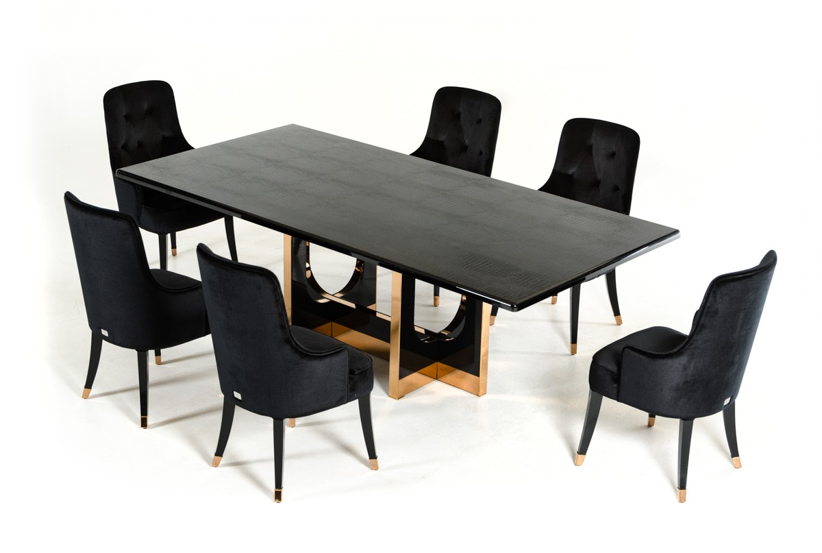 White And Gold Dining Chairs: A&X Padua Modern Large Black Crocodile & Rosegold Dining Table