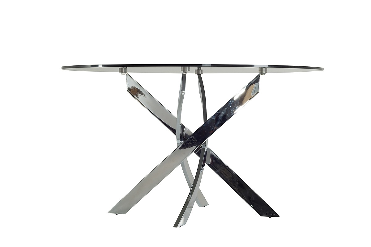 Round Smoked Glass Dining Table Modrest Pyrite Modern Smoked Glass Chrome Round Dining Table