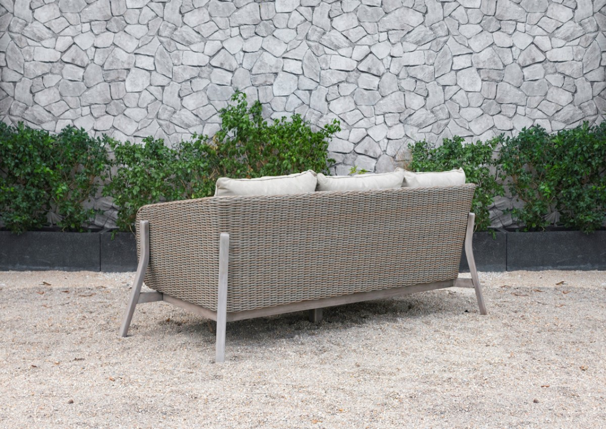 Renava Carillo Outdoor Beige Wicker Sofa Set Outdoor