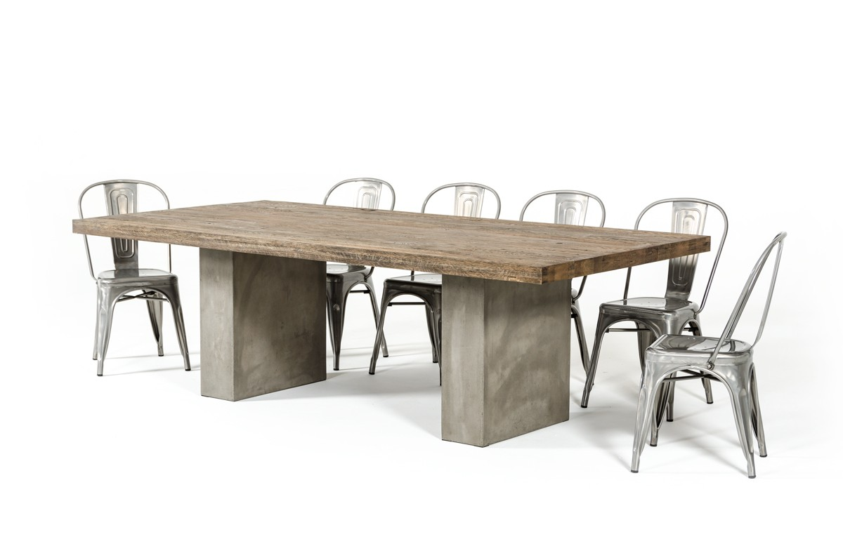 Modrest Renzo Modern Oak Concrete Dining Table Urban Collections - Concrete and metal dining table