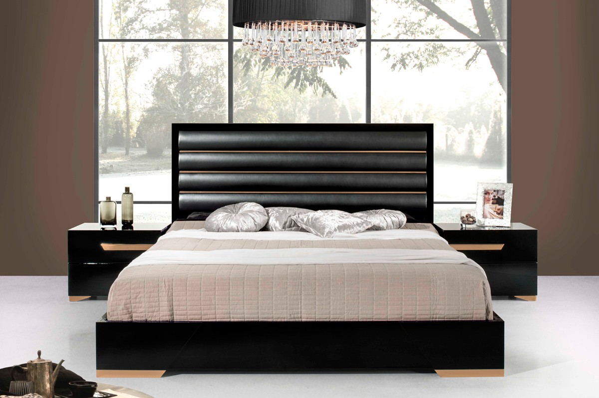 Black and gold bedroom - Nova Domus Romeo Italian Modern Black Rosegold Bedroom Set