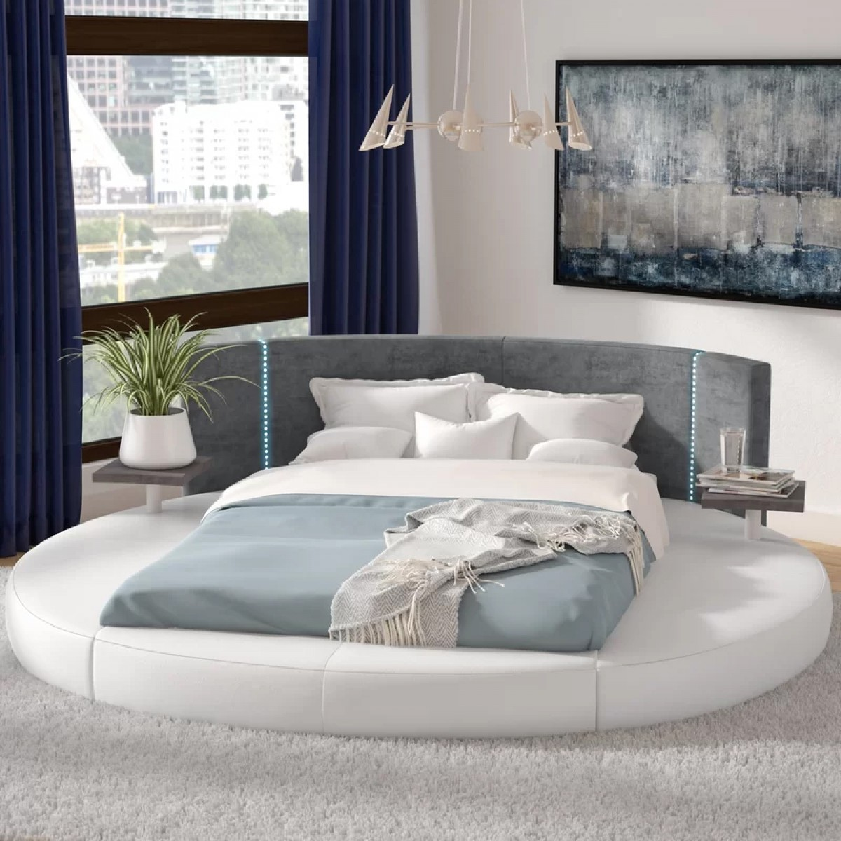 Modrest Rotondo Modern Eco Leather Bed With Led Lights