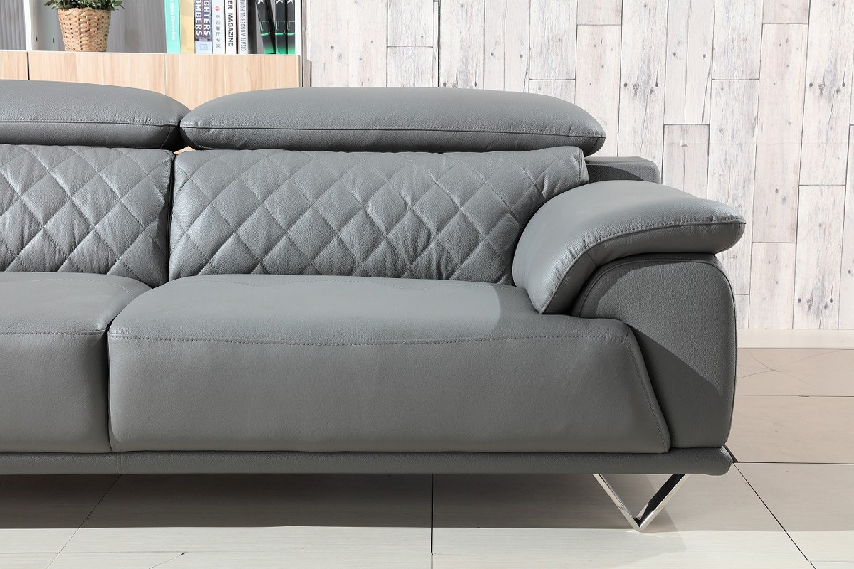 Divani Casa Wolford Modern Grey Leather Sofa Set