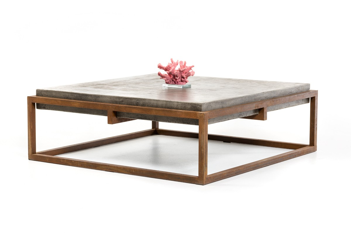 Modrest shepard modern concrete coffee table coffee for Modern living room no coffee table