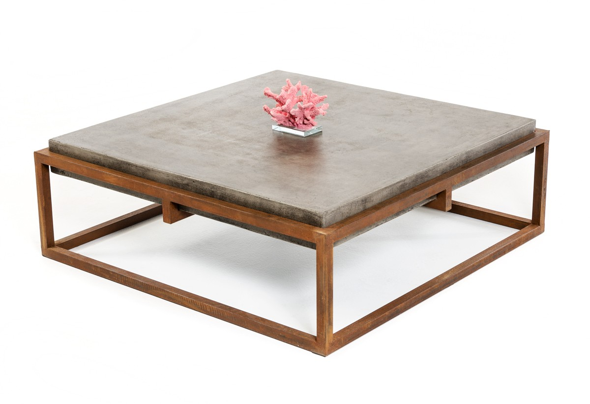 Modrest shepard modern concrete coffee table coffee for Concrete coffee table