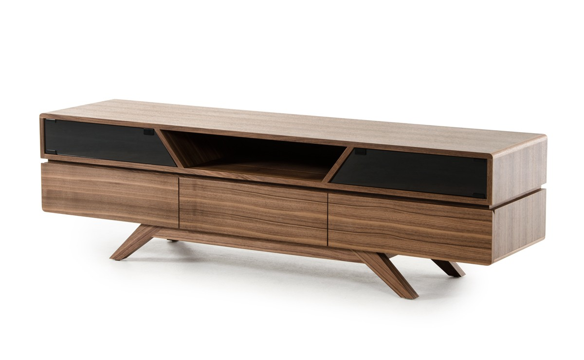 Nova domus soria modern walnut tv stand entertainment for Table tv moderne
