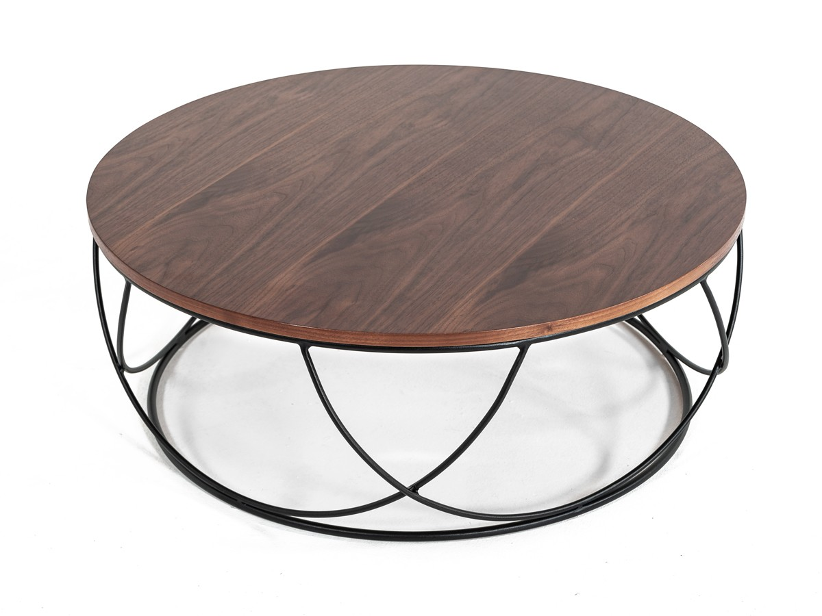 Round Contemporary Coffee Tables: Modrest Strang Modern Walnut & Black Round Coffee Table