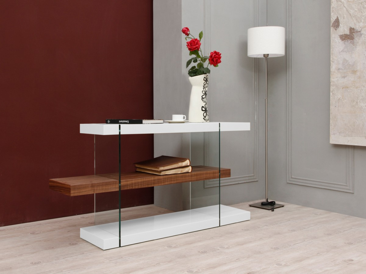 Modrest Sven Contemporary White Amp Walnut Desk Amp Shelves