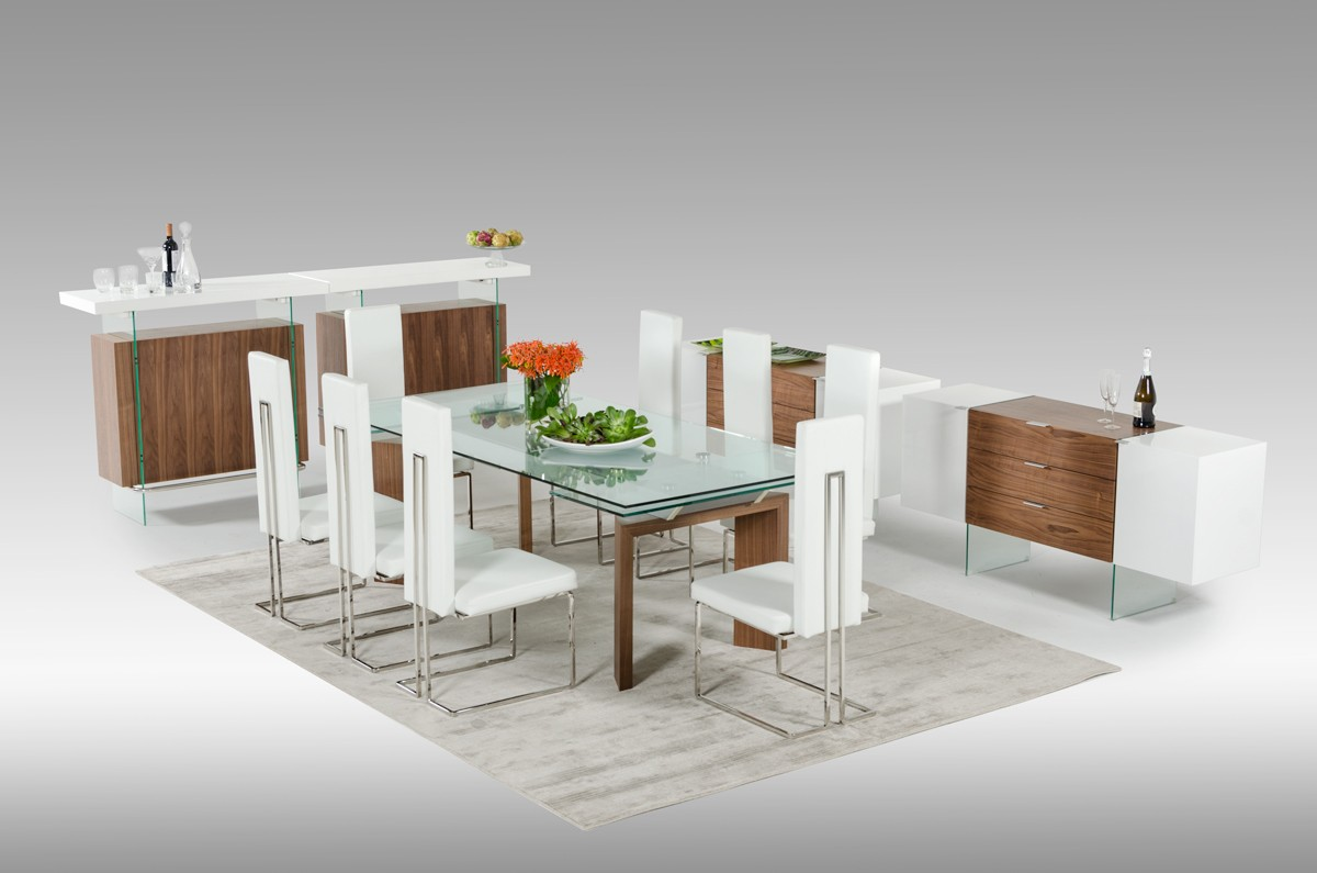 modrest sven contemporary white u0026 walnut floating buffet buffets